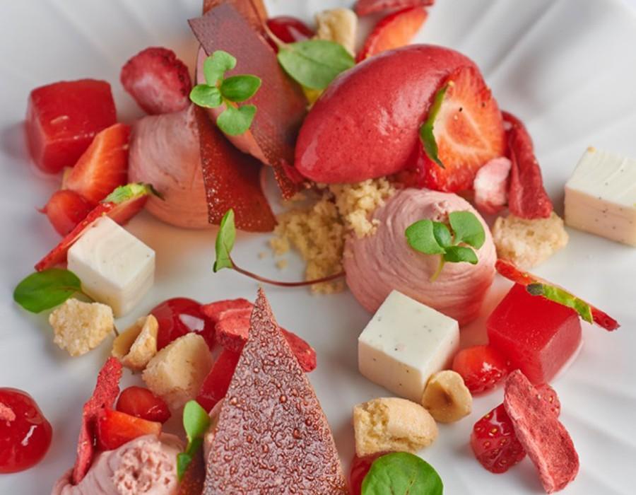 Adam Handling dish - Strawberry, yogurt, watermelon