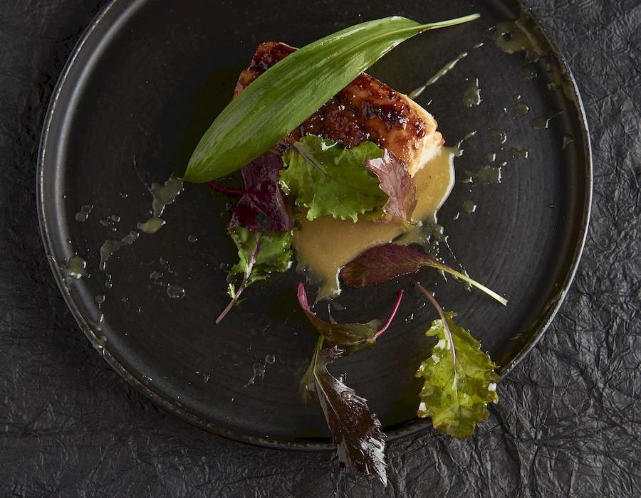 Adam Handling dish - Black cod miso, smoked leaves