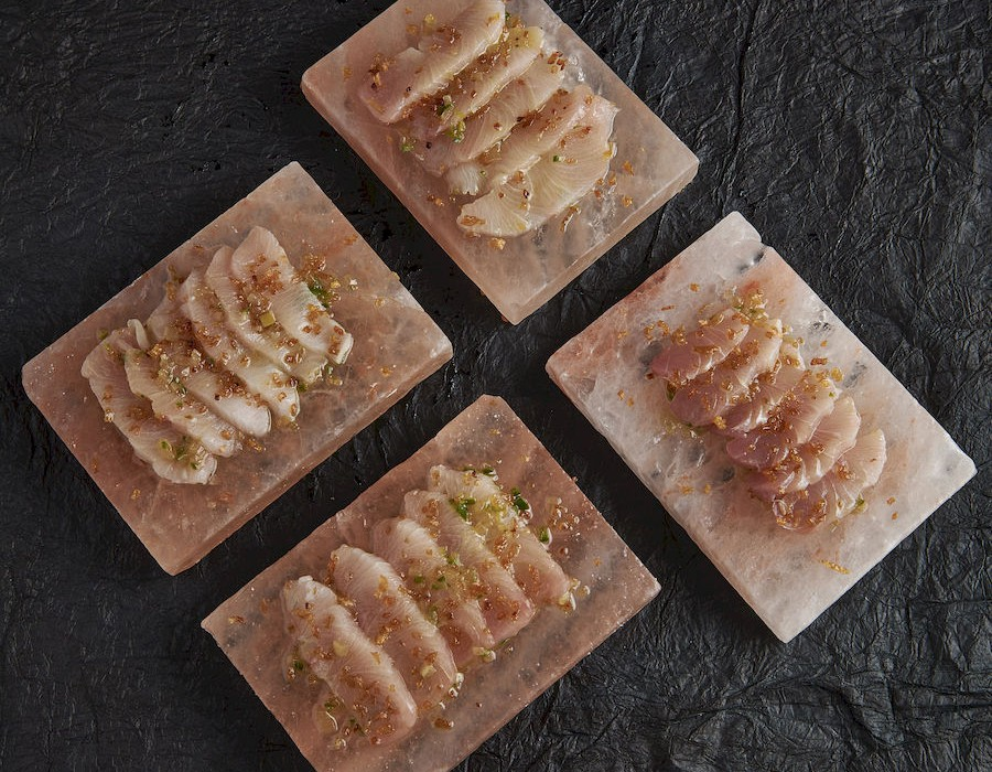 Adam Handling dish - King fish, jalapeno dressing, confit shallots, chive