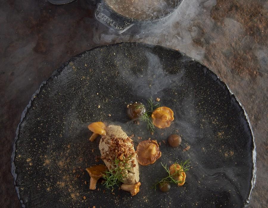 Adam Handling dish - Chicken liver frozen, damson, lime, cracker