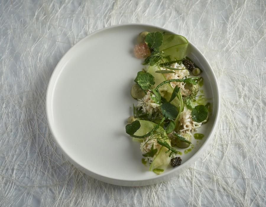 Adam Handling dish - Crab Apple, dill, gin, sea herbs