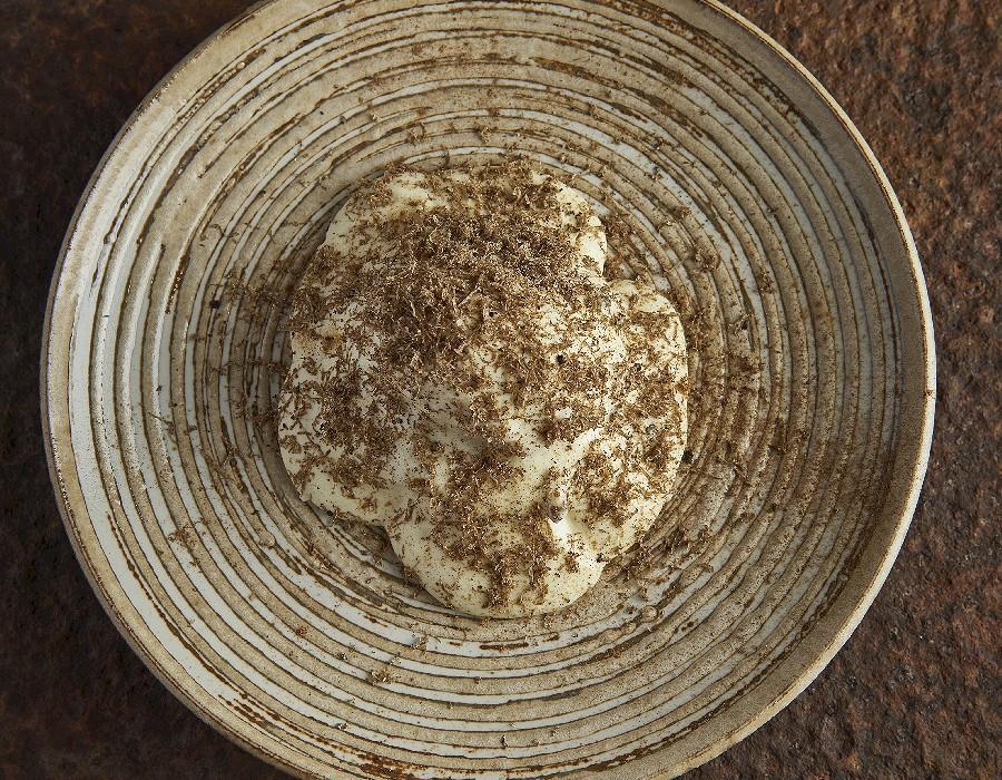 Adam Handling dish - 'Mac & cheese' egg, mushrooms, english truffle