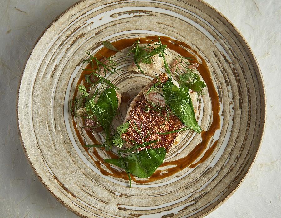 Adam Handling dish - Red mullet, crab, langoustine, sea herbs