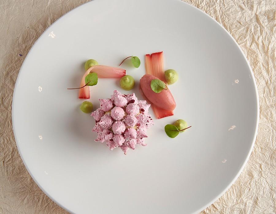 Adam Handling dish - Rhubarb caramelised custard, avocado