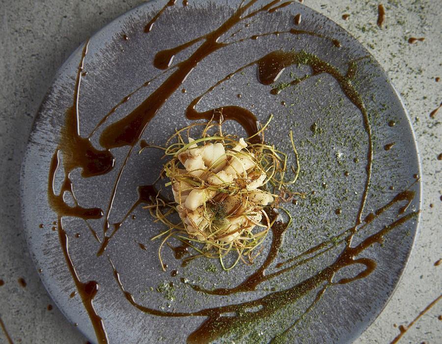 Adam Handling dish - Wild bass, sherry, spring onion