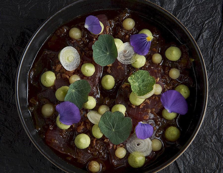 Adam Handling dish - Yellowfin tuna, citrus, soy, avocado
