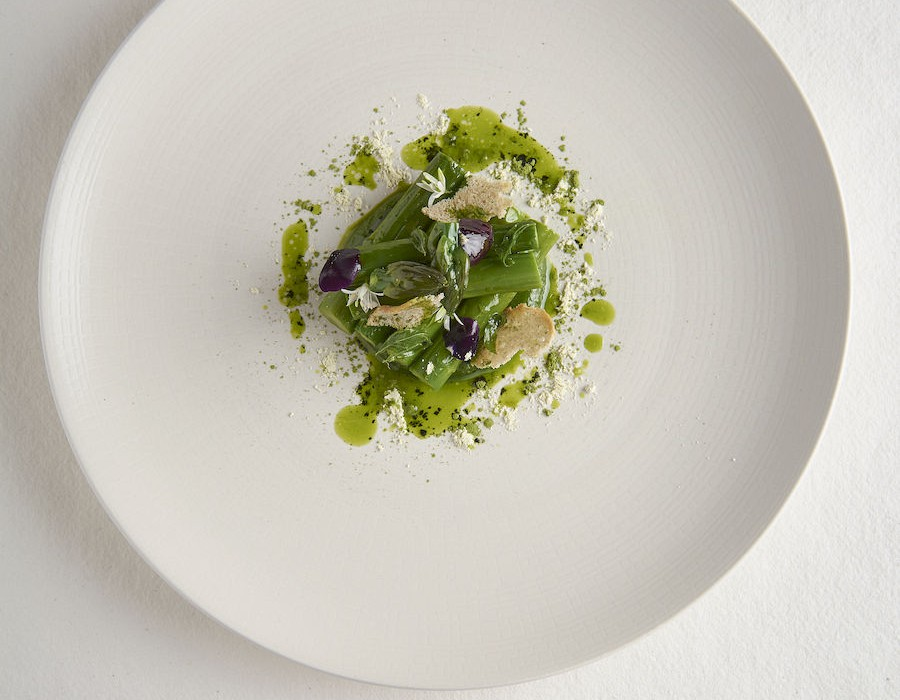 Adam Handling dish - Asparagus wild garlic, verbena, green tea, wasabi