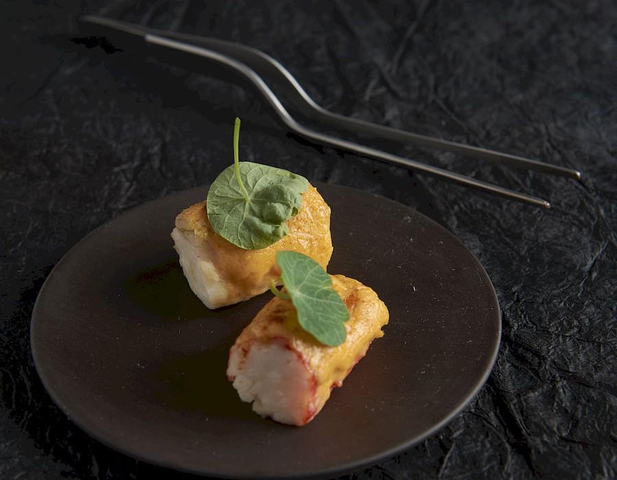 Adam Handling dish - King crab, kimchi glaze
