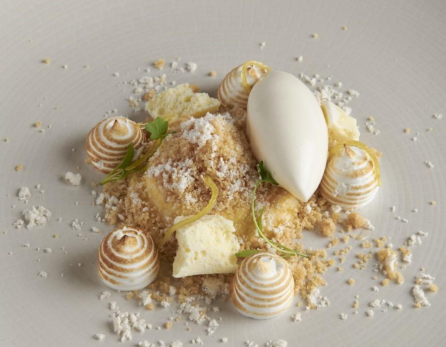 Adam Handling dish - Yuzu milk, crumble, meringue