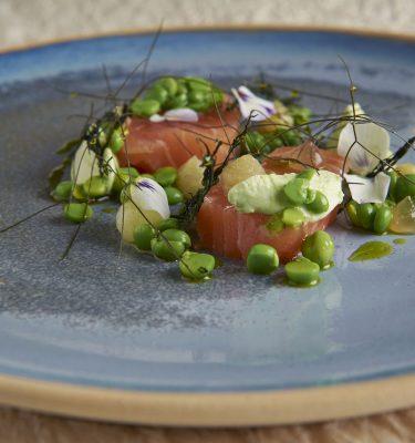 Adam Handling dish - Salmon, fennel pollen, peas, sweet & sour