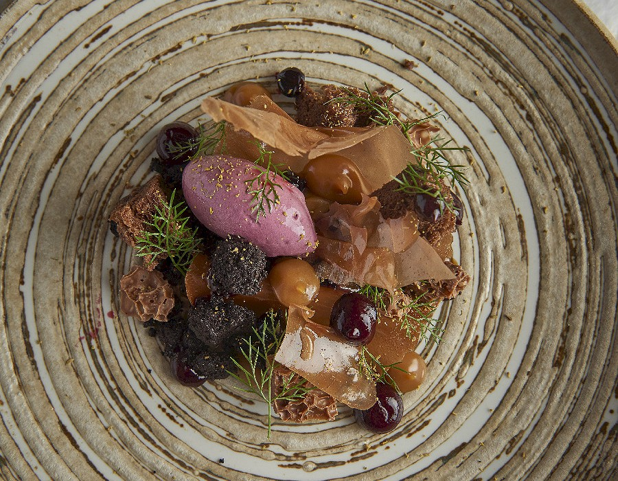 Adam Handling dish - Chocolate, caramel, blackcurrant, fennel pollen