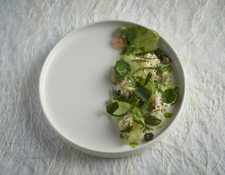 Adam Handling dish - Crab Apple, dill, gin, sea herbs