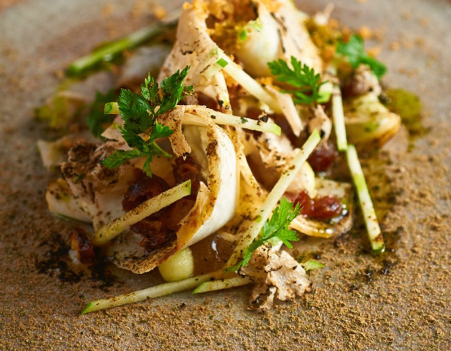 Adam Handling dish - Salt baked celeriac, apple, dates, truffle